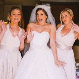 bride and bridesmaids - hair up