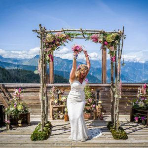 happy bride in alps