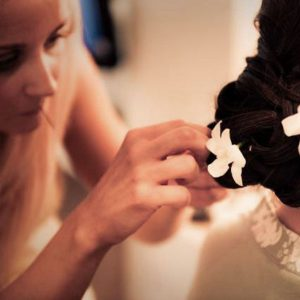 fresh flowers in bridal hair